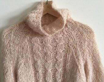 vintage bergdorf goodman mohair wool cableknit turtleneck sweater 36 small