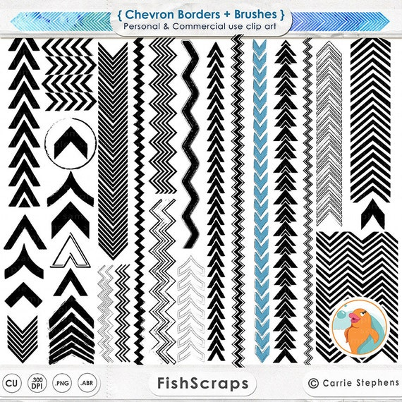 Chevron Digital Stamp Border, Modern Geometric Border ClipArt, Arrow Clip Art & PS Brush, Zig Zag Silhouette, Tribal Borders