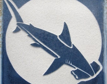 4x4 Hammerhead Shark Etched Tile - SRA