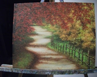 Autumn Trees, Path With Fence, Fall, Road, Woods, Walk Original Landscape Oil Painting