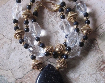 Palace Treasures - Blue Goldstone Vermeil Quartz AA Necklace