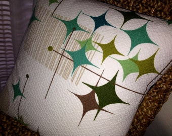 Starburst MCM Pillow Cover- READY To Ship - Vintage Textile - Starlight Room - Teal, Turquoise, Green, Olive, Taupe - LUMBAR Sizes