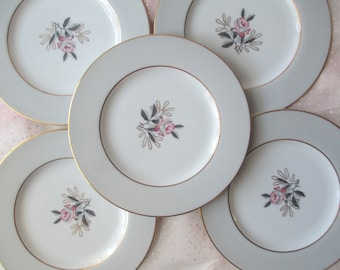 Vintage Noritake Lindley Bread and Butter Plates Pink Gray Floral Set of Five