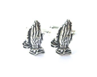Praying Hands Cuff Links- Sterling Silver Finish- Gifts For Men- Religious Accessories