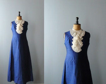 Vintage maxi dress. Blue silk maxi dress with jabot. 1960s maxi gown. Long gown