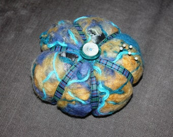 Nuno felted wool silk pin cushion pincushion - large pumpkin style blues beige mustard -perfect gift