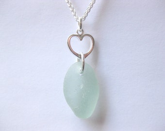 Sea Glass Necklace - Love Seaglass Necklace Beach Glass Necklace Beach Glass Jewelry