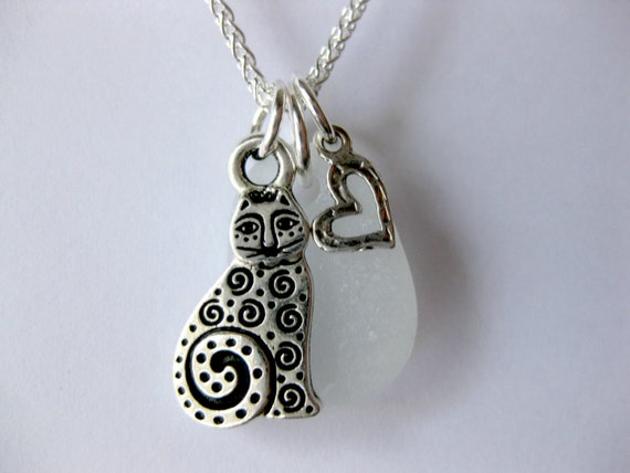 Cat jewelry cat pendant cat necklace sea glass necklace seaglass jewelry