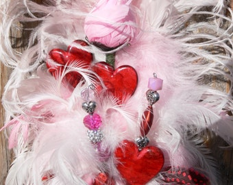 Engagement Sweetheart Feather Cake Topper,  pink, red, and silver for your Wedding, Birthday, Shower or Special occasion cake, Ready to Ship
