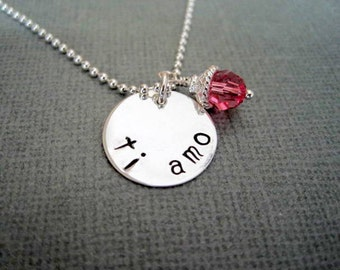 Ti amo handstamped sterling silver womans necklace love you spanish pendant engraved jewelry personalized girls rose crystal