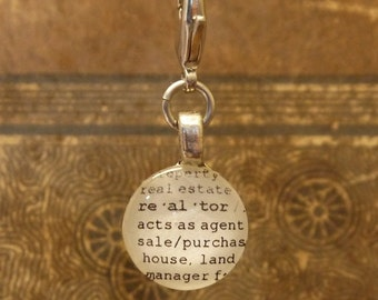 Realtor Word Clip-on Charm Antique Vintage Look Gift by Kristin Victoria Designs
