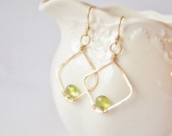 Diamond Shapped Gold & Peridot Hoop Earrings - Fleurtations