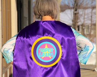 Customized and Personalized Grandma or Grandpa SUPERHERO Cape - Adult Super Hero Cape - Ships Fast - Capes for Men and Women