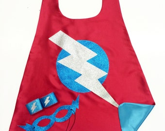 NEW SPARKLE Lightning Bolt Superhero Cape Set - Awesome High Quality Sparkle Design - Coordinating Sparkle ACCESSORIES - Easter Ready