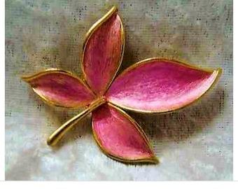 "Mid century, gold tone ""JJ"" Jonette pink leaf brooch"