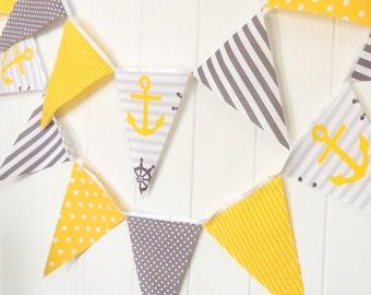 Anchor Banner Nautical, Bunting, Fabric Pennants, Yellow, Grey, Gray Baby Boy Nursery Decor, Birthday Party, Baby Shower Banner, Stripes Dot