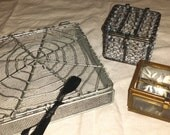 Collection of three magical vintage wire, glass, and beaded boxes