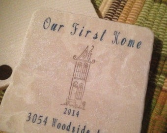 First Home Stone Coasters Personalized Housewarming Gift Coaster Set Tile Drink Barware Kitchen Wedding Party Favor Gift Custom Cozie Tile