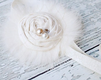 Yuletide Yeti- - single ivory rosette with fur netting and pearls