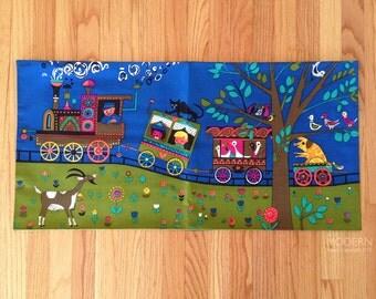 Children's Circus Print Fabric Panel Swedish Vintage Wall Hanging