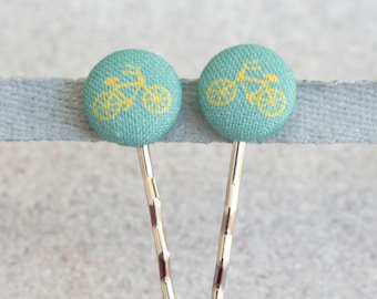 Teal Bikes Fabric Covered Button Bobby Pin Pair