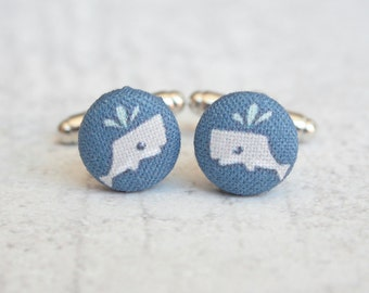 Little Whale, Fabric Covered Button Cufflinks