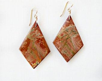 SALE! Diamond Shaped Picasso Jasper Stone Gold Filled Earrings  -EG09