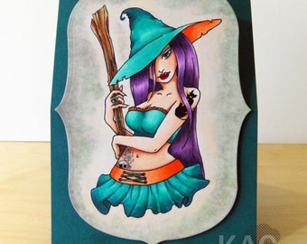 Digital Stamp - Witch Pin Up - Halloween - Sexy Digital image for Papercrafts & Scrapbooking