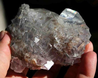 Purple and Clear Fluorite Specimen with Rainbow from China