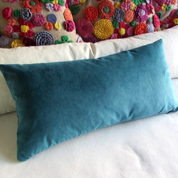 Turquoise Blue Velvet Lumbar Decorative Bolster Pillow 13x26