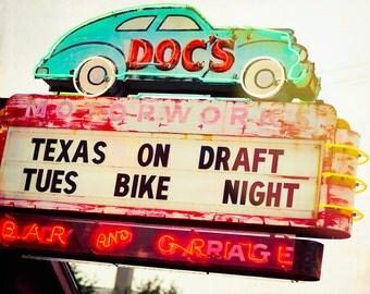 Photography, Austin Texas Photo, Neon Sign, Retro, Bar Sign, Fine Art Print, Texas Art, Neon Lights, Travel Photography, Man Cave, Bikers