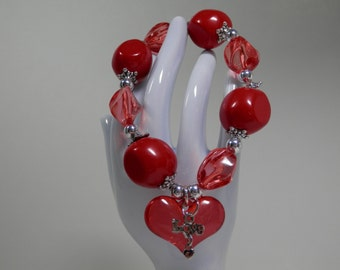Vibrant Red Love Heart Charm Elastic Bracelet Silver Pewter Color Finding Solid & Translucent Chunky Beads Romantic Sweetheart Holiday Gift