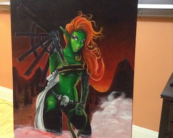 Original Acrylic Painting Lady Goblin by FRall