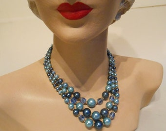 Calming Waters - 1950s Slate Blue Aqua & Hyacinth blue 3 Strand Faux Pearl Necklace