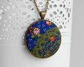 Hippie Necklace, Cobalt Blue Pendant, Blue Green Boho Jewelry, Floral Fabric Lace Necklace, Moss Green Jewelry, Polka Dots Colorful Flowers