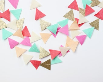 READY TO SHIP felt and glitter triangles garland (petal, mint, coral, blush, cream, gold glitter)