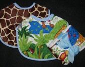 Quality Infant Velcro Jungle Print Bibs with Coordinating Burp Cloths  / 2  Bibs/2 Burp Cloths Set