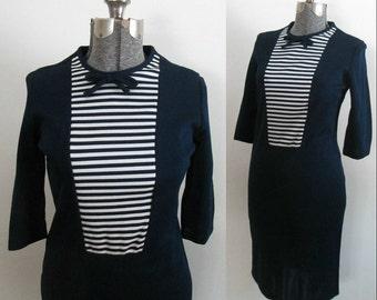 Mid Century Pencil Sailor Dress 1950s 1960s Navy White Striped