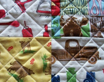 Dairy Farm Table Topper Quilted Milk Cows Kitchen Utensils Farm Truck Quiltsy Handmade FREE U.S. Shipping