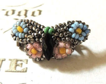 Vintage Victorian Brooch Pin Blue Pink Butterfly 1800s Art Nouveau Jewelry