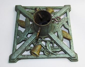 Tree Stand Base! Wonderful Vintage Deco Cast Iron  with Bells and Pinecone Motif 2 toned Shimmery Green & Gold!