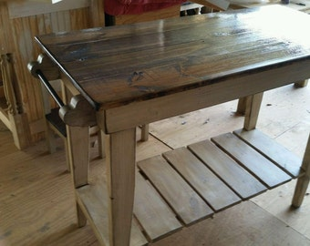 farm style kitchen island. farm table style kitchen island-distressed pine work table- shipping available-free island i