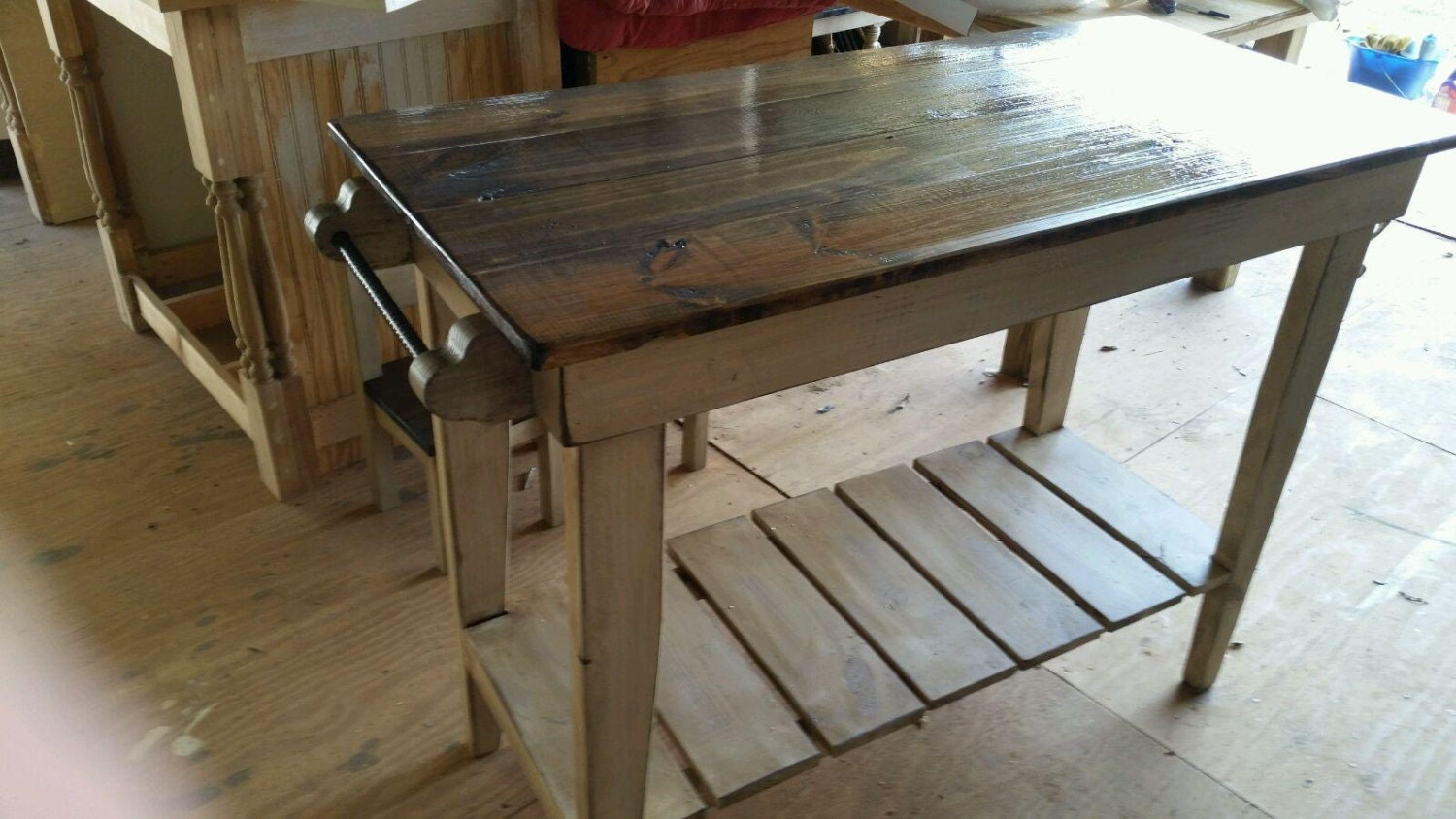 Distressed Pine Kitchen Island Farm Table Style Kitchen