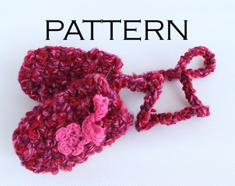 Fluffy Baby Thumbless Mittens Crochet Pattern - PDF