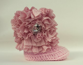 Light Pink Ruffle Baby Crochet Boots- Choose Your Size