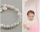 Pink Baby Name Bracelet, pearls, little girls jewelry, first 1st birthday bracelets, cupcake charm, cake smash pictures toddler baby, KELSEY