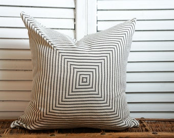 Black and linen mitered ticking pillow