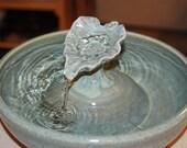 "REDUCED - Ceramic Cat Drinking Fountain/Pet Fountain, Foodsafe - ""Jade Leaf"" - 10.25 Inch Diameter"