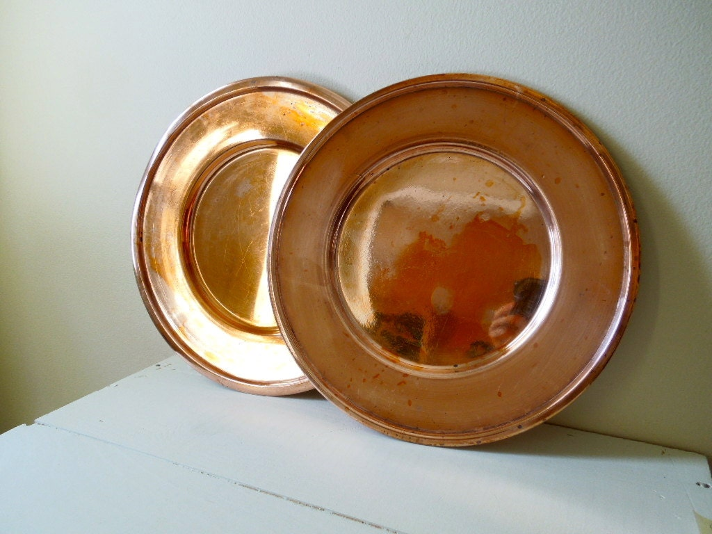 Vintage Copperplate Charger Plates Set Of Two Metal Dinner