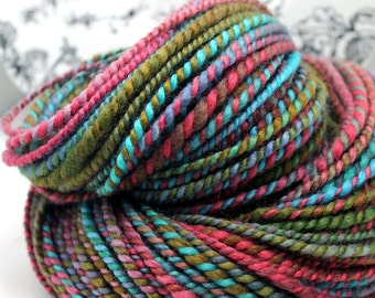Handspun Yarn Gently Thick and Thin Bulky Two Ply Blue Faced Leicester 'Joy Ride'